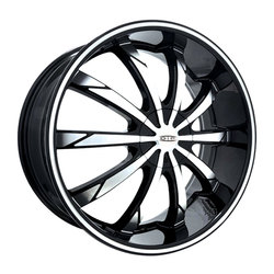 DIP Wheels Slack D66M - Black/Machined Face/Machined Ring - 22x8