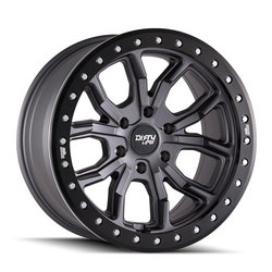 Dirty Life Wheels 9303 DT-1 Beadlock - Satin Graphite w/Simulated Beadlock Ring