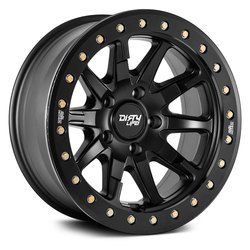 Dirty Life Wheels 9304 DT-2 Beadlock - Matte Black w/ Simulated Beadlock Ring