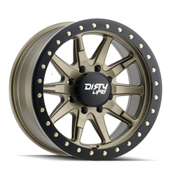 Dirty Life Wheels 9304 DT-2 Beadlock - Satin Gold w/ Simulated Beadlock Ring