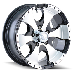 Ion Alloy Wheels 136 - Black/Machined Face/Machined Lip Rim - 14x6