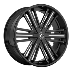 Kraze Wheels KR145 Hookah - Black with Milled Accents Rim - 26x10