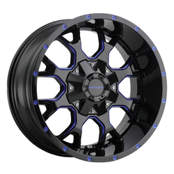 Mayhem Wheels 8015 Warrior - Black w/Prism Blue Rim