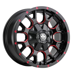 Mayhem Wheels 8015 Warrior - Black w/Prism Red Rim