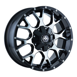 Mayhem Wheels 8015 Warrior - Black w/Machined Face Rim - 22x12