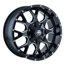 Mayhem Wheels 8015 Warrior - Black w/Milled Spokes Rim
