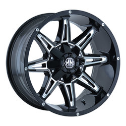 Mayhem Wheels 8090 Rampage - Black w/Milled Spokes Rim - 22x9.5