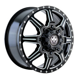 Mayhem Wheels 8101 Monstir Dually - Black w/Milled Spokes Rim - 22x8.25