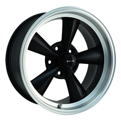 Ridler Wheels 675 - Matte Black w/Machined Lip Rim - 17x7