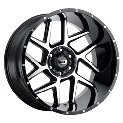 Vision Wheels 360 Sliver - Gloss Black Machined Face Rim - 20x12