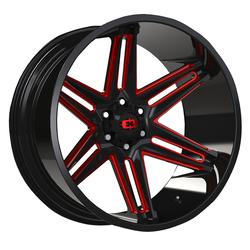 Vision Wheels 363 Razor - Gloss Black Milled Spoke with Red Tint Rim