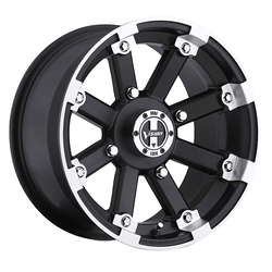 Vision ATV Wheels 393 Lock Out - Matte Black Machined Lip Rim - 14x7
