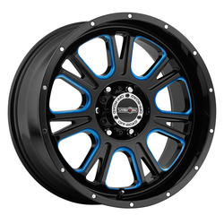 Vision Wheels 399 Fury - Gloss Black Ball Cut Machined with Blue Tint Rim