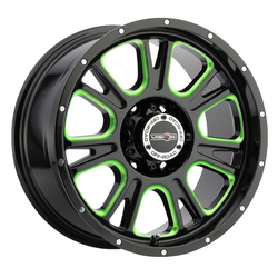 Vision Wheels 399 Fury - Gloss Black Ball Cut Machined with Green Tint Rim