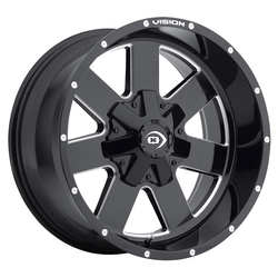 Vision Wheels 411 Arc - Gloss Black Milled Spoke Rim - 18x9