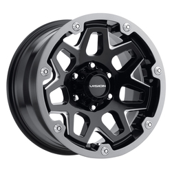 Vision Wheels Vision Wheels Se7En - Gloss Black Milled Spoke - 17x9