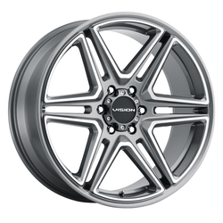 Vision Wheels 476 Wedge - Gunmetal Machined Face Rim - 22x9.5