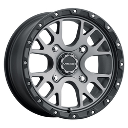Vision ATV Wheels 545 Rocker - Gunmetal w/ Satin Black Lip Rim