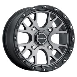 Vision ATV Wheels 545 Rocker - Gunmetal w/ Satin Black Lip
