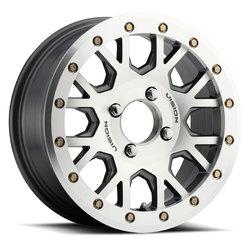 Vision ATV Wheels GV8 Beadlock Invader - Gunmetal Machined Face - 15x6