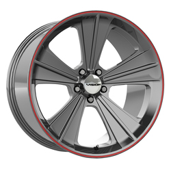 Vision Wheels Missile - Gun Metal w/Red Lip - 20x11