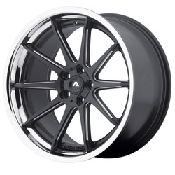 Adventus Wheels AVS-4 - Satin Black Milled w/SS Lip Rim - 22x10.5