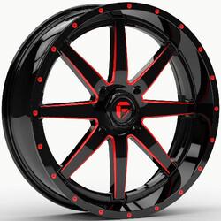 Fuel UTV Wheels D650 Maverick UTV - Gloss Black Milled With Red Tint Rim - 20x7
