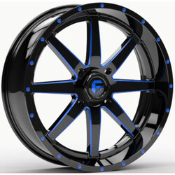 Fuel UTV Wheels D651 Maverick UTV - Gloss Black Milled With Blue Tint Rim - 22x7