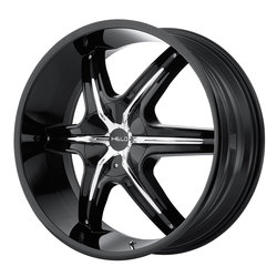 Helo Wheels HE891 - Gloss Black w/Chrome And Gloss Black Accents Rim - 24x9