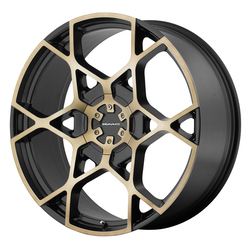 KMC Wheels KM695 Crosshair - Satin Black w/Machined Face and Tinted Clear Rim - 24x9.5