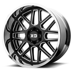 XD Series Wheels XD201 Grenade - Gloss Black Milled Center w/Chrome Lip