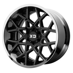 XD Series Wheels XD203 Chopstix - Gloss Black Milled Center w/Chrome Lip