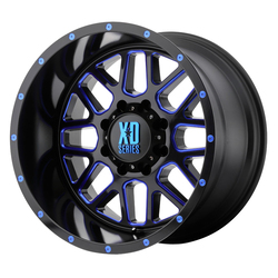 XD Series Wheels XD820 Grenade - Satin Black Milled w/Blue Clear Coat Rim