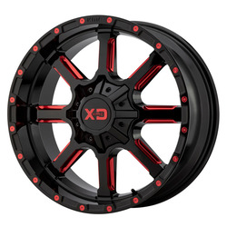 XD Series Wheels XD838 Mammoth - Gloss Black Milled With Red Tint Clear Coat Rim