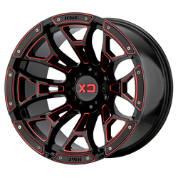 XD Series Wheels XD841 Boneyard - Gloss Black Milled With Red Tint Rim