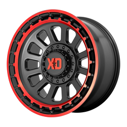 XD Series Wheels XD856 Omega - Satin Black Machined Lip With Red Tint Rim