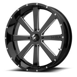 MSA Offroad Wheels M34 Flash - Gloss Black Milled Rim - 24x7