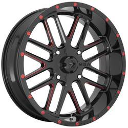 MSA Offroad Wheels M35 Bandit - Gloss Black Milled with Red Tint Rim - 18x7