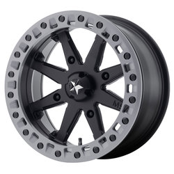 MSA Offroad Wheels M31 Lok2 - Satin Black w/Matte Gray Ring Rim - 18x7
