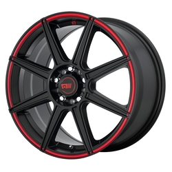 Motegi Wheels MR142 - Satin Black With Red Stripe Rim - 15x6.5