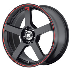 Motegi Wheels MR116 - Matte Black w/Red Racing Stripe Rim - 15x6.5