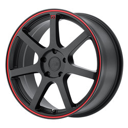 Motegi Wheels MR132 - Matte Black w/Red Stripe on Flange Rim - 17x7