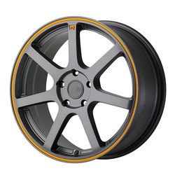 Motegi Wheels MR132 - Matte Gray w/Orange Stripe on Flange Rim - 15x6.5