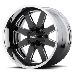 Moto Metal Wheels MO200 - Gloss Black Milled Center w/Chrome Lip Rim - 22x10