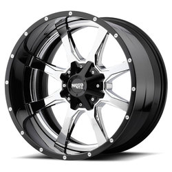Moto Metal Wheels MO201 - Chrome Center w/Gloss Black Milled Lip Rim - 22x10