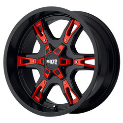 Moto Metal Wheels MO969 - Satin Black w/Red And Chrome Accents - 22x12