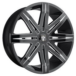 DUB Wheels Stacks (S227) - Gloss Black & Milled Rim - 24x9.5