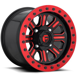 Fuel UTV Wheels Hardline BL D911 - Gloss Black w/ Candy Red