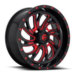 Fuel UTV Wheels Kompressor D642 - Gloss Black w/ Candy Red Rim - 18x7