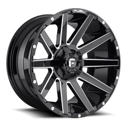 Fuel Wheels Contra D615 - Gloss Black & Milled Rim - 22x10